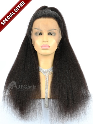 Small Size: #2 18'' 180% Density 360 Lace Wigs Kinky Straight Indian Remy Hair [RFS030]