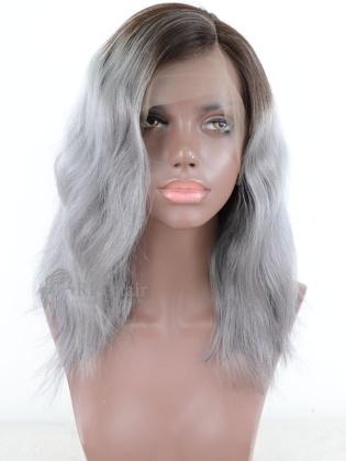 Grey Color Wavy Style Bob Lace Wig Brazilian Virgin Hair[BCT10P]