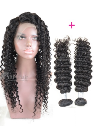 360 Lace Frontal With 2 Bundles Deep Wave Indian Virgin Hair Weaves[HWF01]