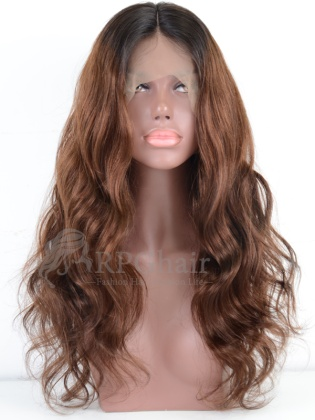 Ombre Color Slight Wavy Hairstyle Indian Remy Hair Lace Front Wig[RCW07P]