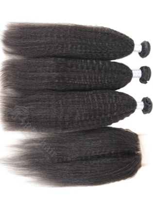 3 Bundles Kinky Straight Indian Virgin Hair Weaves with A Lace Closure