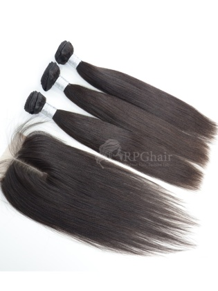3 Bundles Indian Virgin Yaki Hair Weaves with A Lace Closure