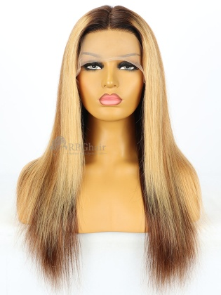 5.5'' Part 180% Density Blonde Highlights Silky Straight Lace Front Wigs [LFW300]