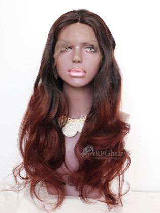 20in Silky Natural Wavy Ombre Brazilian Virgin Hair Glueless Lace Front Wig [RFS344]