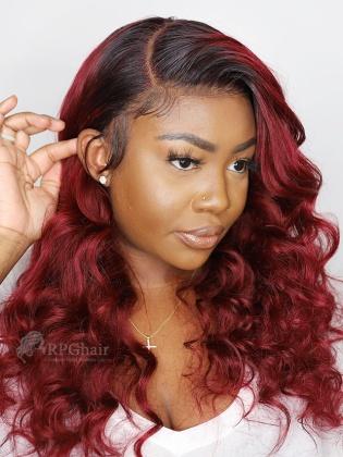 5.5'' Part 180% Density Ombre #99J Wavy Lace Front Wigs [LFW99]