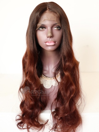 26in Ombre Color Wavy Style Brazilian Virgin Hair Glueless Lace Front Wig[RFS40]
