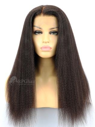 Kinky Straight Virgin Brazilian Hair Glueless Lace Front Wigs[LFW52]