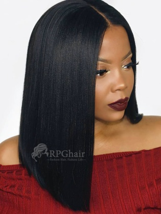 [US Stock]Yaki  Bob Hairstyle Indian Remy Hair Glueless Lace Front Wigs [LFW44US]
