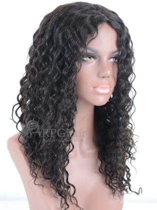 Affordable Deep Wave Indian Remy Hair Machine Weft Made Lace Wigs