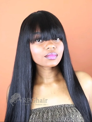 Yaki Straight Indian Remy Hair Lace Front Wigs With Bangs[LFW43]