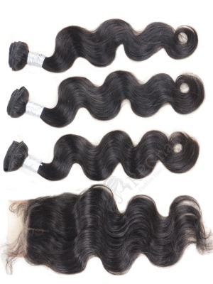 3 Bundles Body Wave Indian Virgin Hair Weaves with A Lace Closure