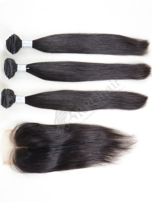 3 Bundles Silky Straight Weaves with A Lace Closure