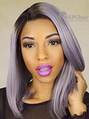Grey Color Bob Virgin Brazilian Hair Glueless Lace Front Wigs[LFW08]