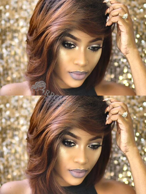 Popular Ombre Yaki Bob Hairstyle Indian Remy Hair Glueless Lace