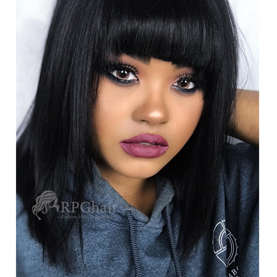 yaki bob hairstyle indian remy hair glueless lace front